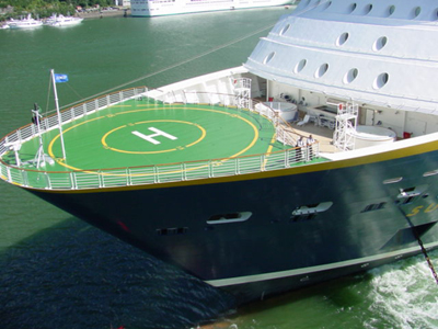 Juneau Harbor Helicopter Pad On Bow Of Anchored Cruise Ship